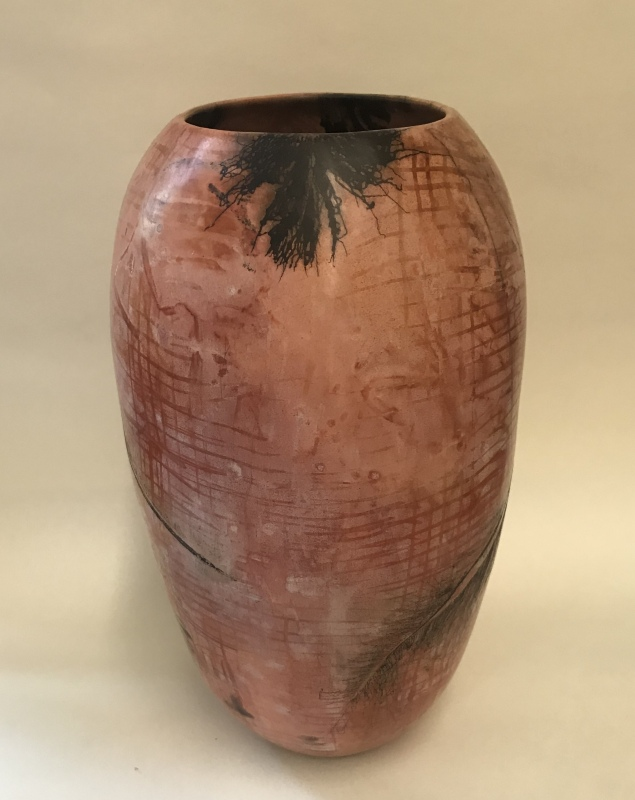Ceramic Pit Fired Horsehair Vase, Evelyn King