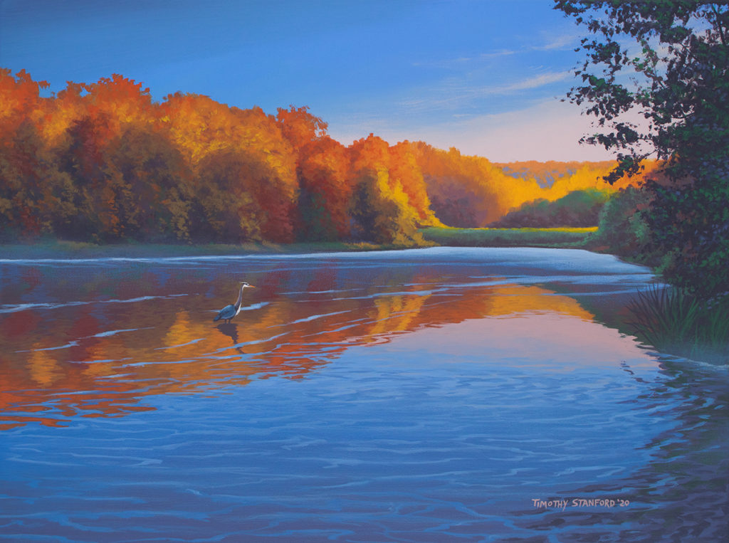 Acrylic landscape painting of Washington Crossing Lake during an early fall morning with a heron standing in the water.