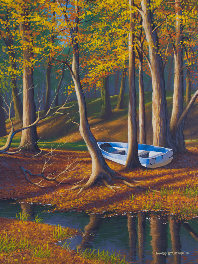 Acrylic landscape painting of a fall forest with a blue striped boat abandoned in the trees.