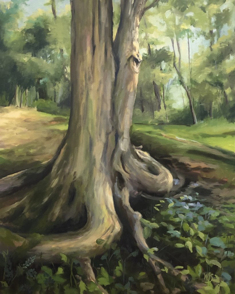 Painting of a tree trunk and roots