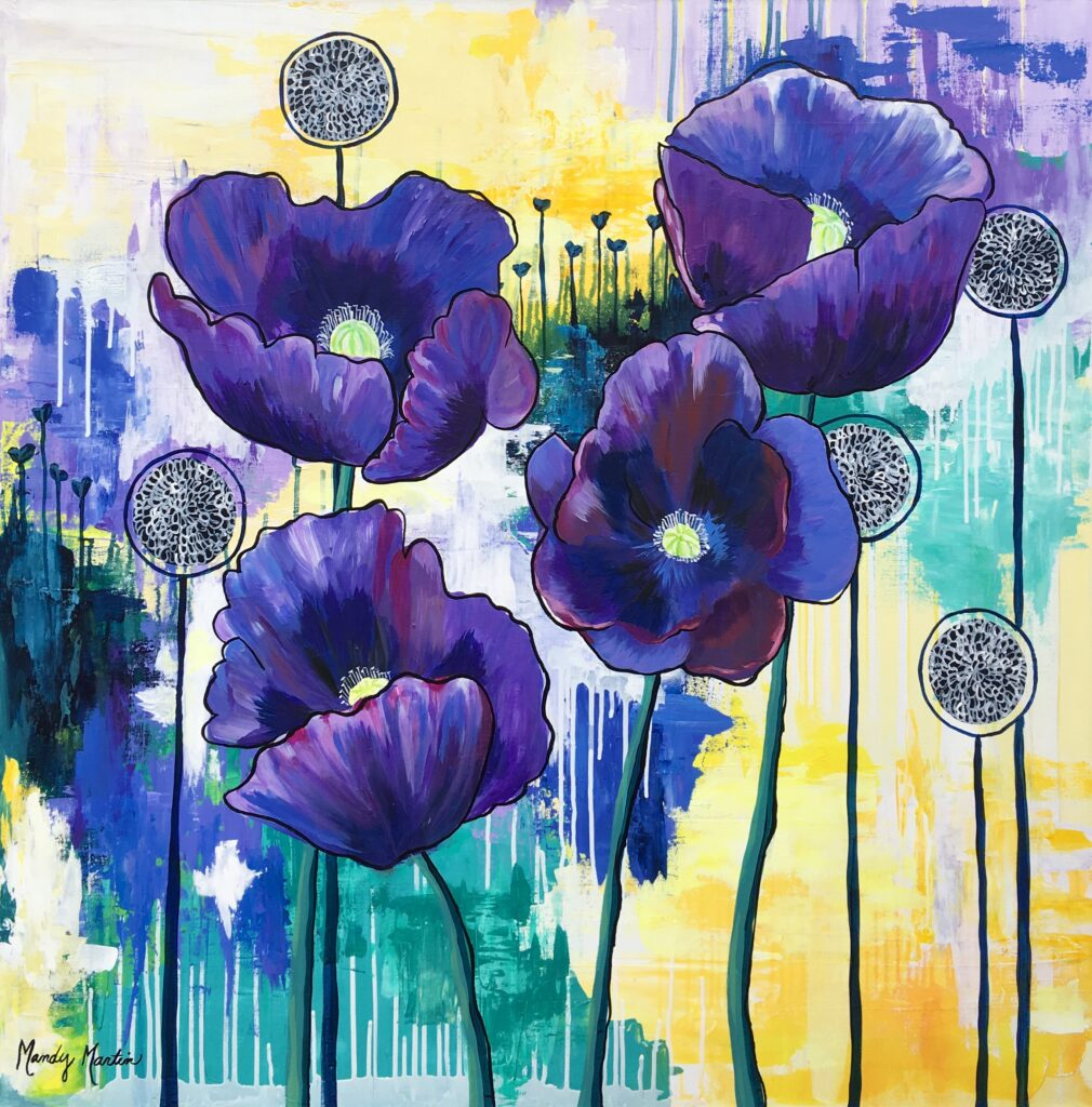 Vibrant floral painting by artist Mandy Martin
