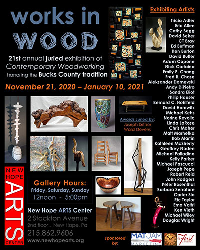 Works in Wood at New Hope ARTS Center – Online & In Gallery – Nov. 21 – Jan. 10