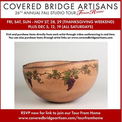 Covered Bridge Artisans Studio Tour From Home – Nov. 27-29, 2020 | Dec, 5,12,& 19
